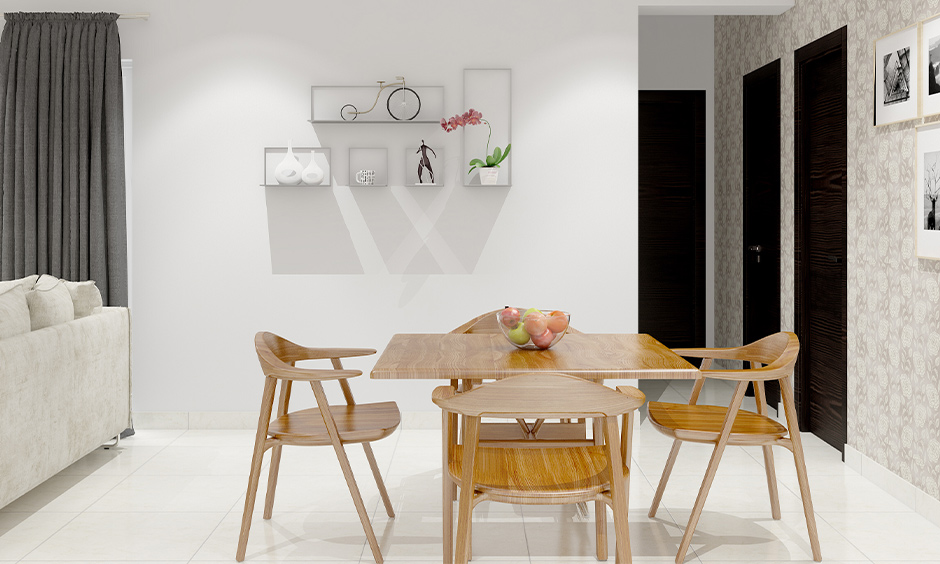 Four stylish wooden chairs for the dining room table is less maintenance and are robust.