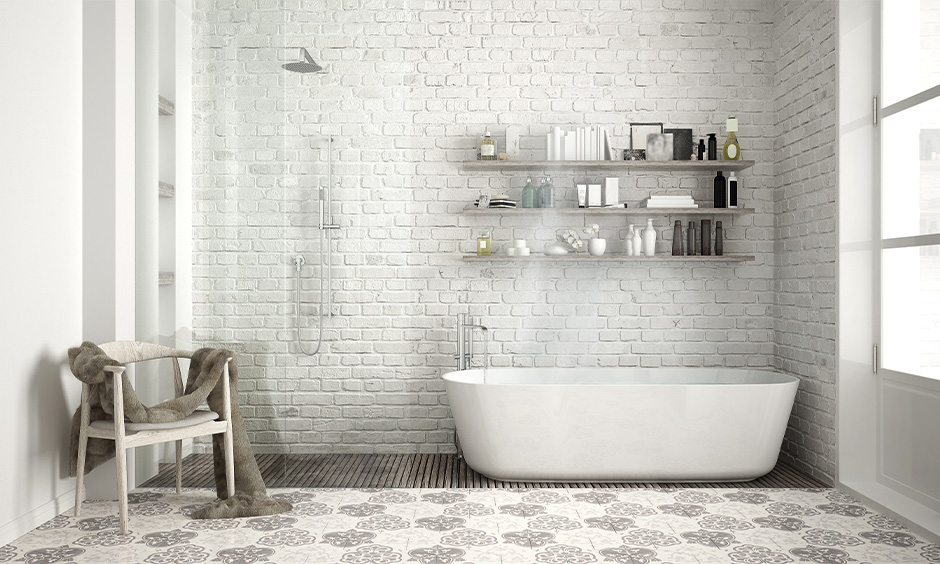 Flooring decorated with mosaic tiles improves the aesthetics and functionality that is how to decorate a white bathroom.
