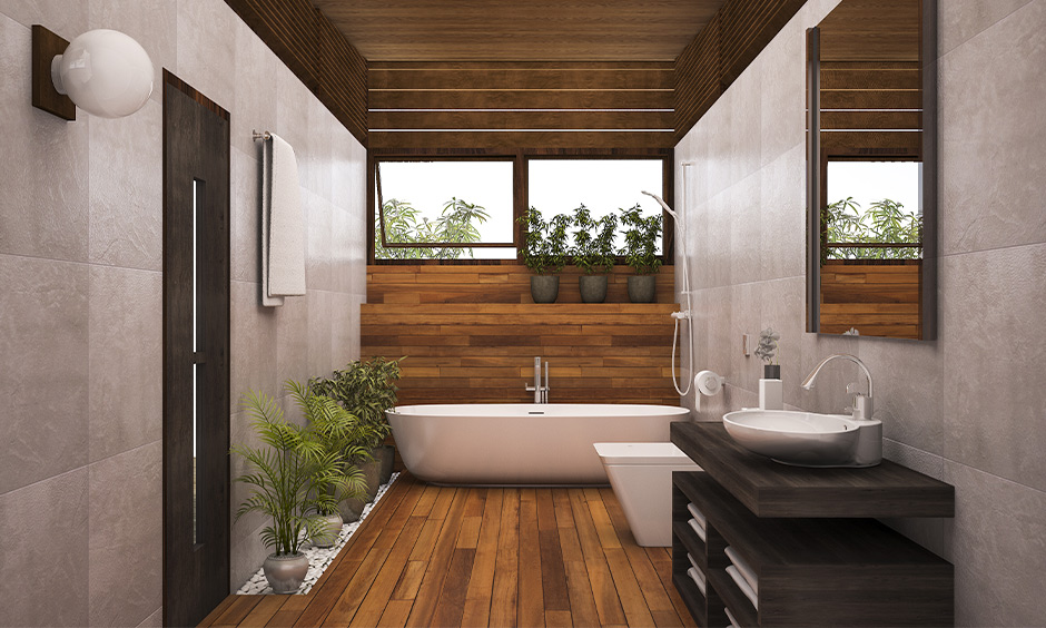 Arranged air-purifying indoor planters in the bathroom bring a fresh vibe is how to decorate a bathroom.