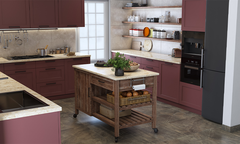 DIY kitchen island on wheels with shelves for hassle-free storage made of wood and marble which is moveable.
