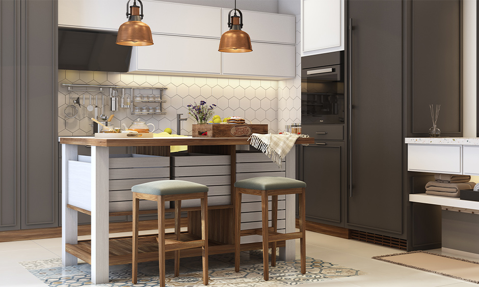 DIY kitchen island with seating made from light wood with box cabinets, two bell-shaped copper lights are elegant.