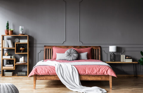 Corner shelf design for bedroom