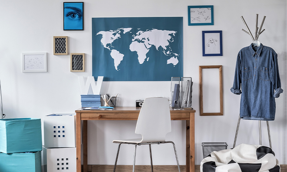Study room as per vastu with placement of  furniture and objects