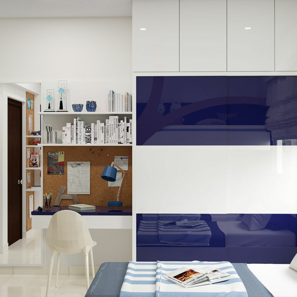 Wardrobe design for bedroom with blue colour to make a beautiful wardrobe