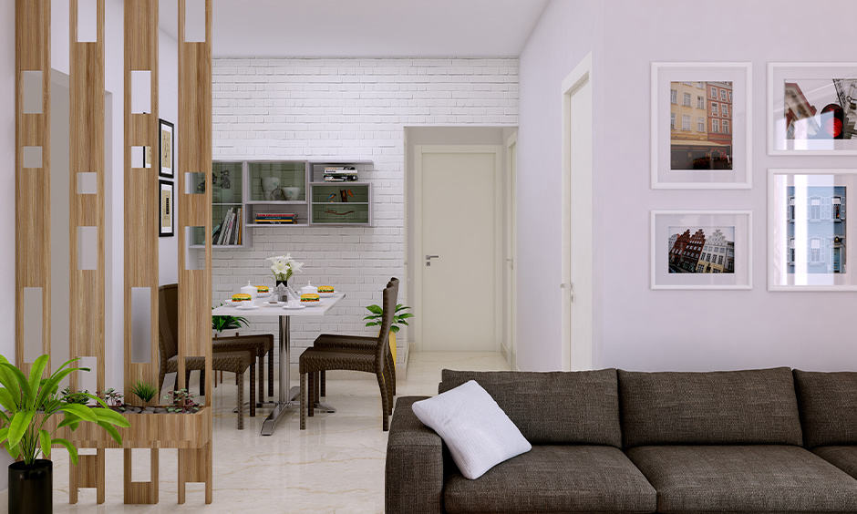 Wooden partition walls for living room and dining room