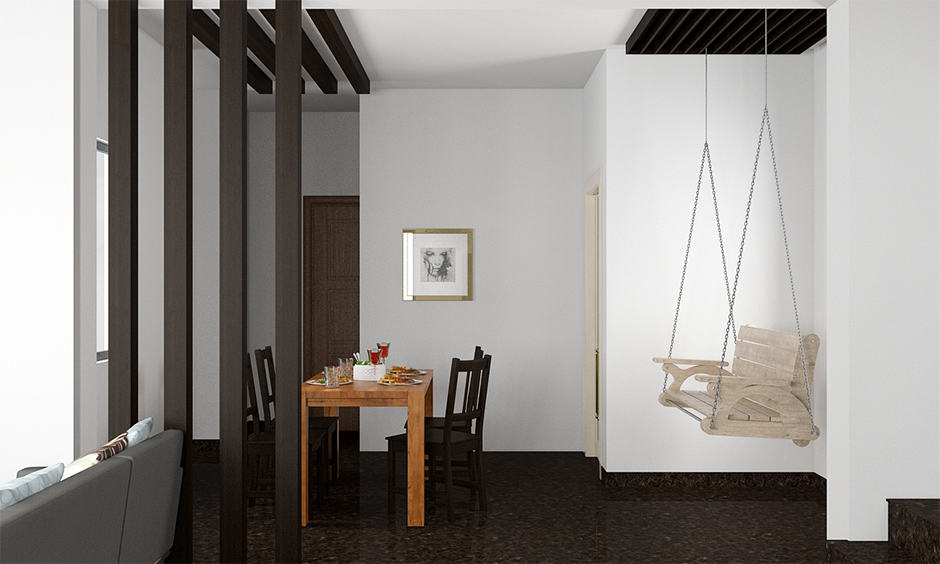Minimalistic design for a wooden partition for living room and dining room