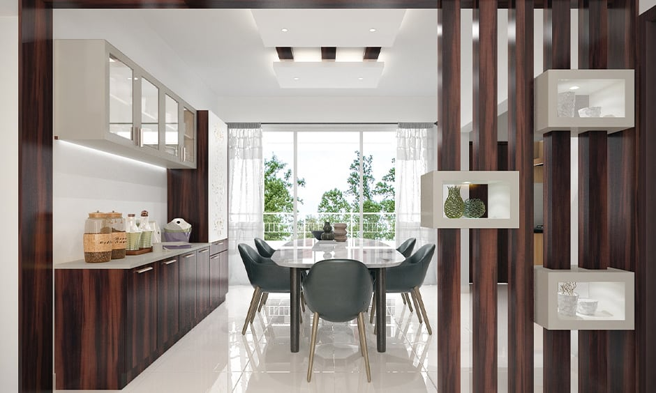 Plush wooden partition design for living room and dining area