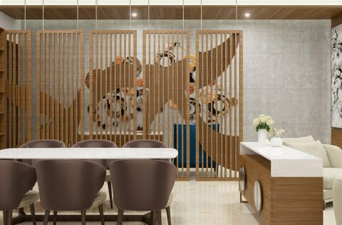 Wooden partition designs between living dining