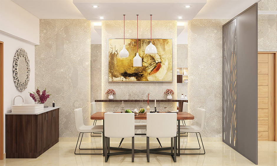 Wooden partition designs between living room and dining area