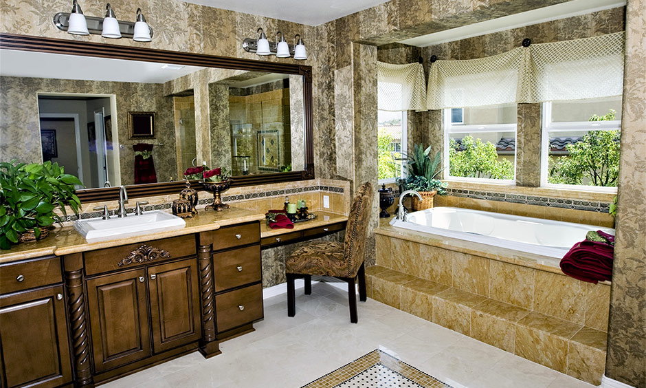Yellow bathroom granite countertop with sink in white design in the royal bathroom looks luxury.