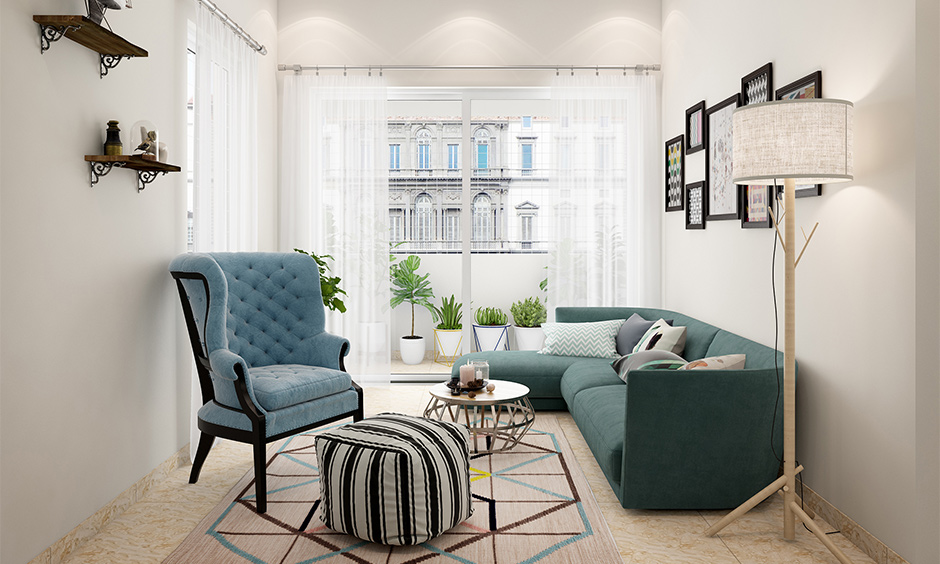 Abstract coffee table and ottoman for white living room furniture and decor bring elegance to the area.