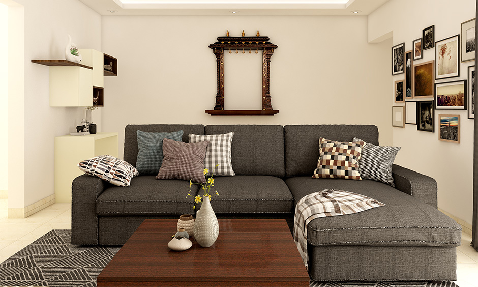 Dark wood furniture living room decorating idea with rugs lift the vibe of the living room.