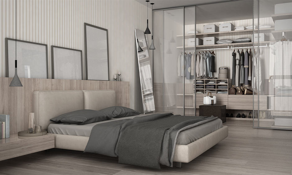 Master bedroom wardrobe walk-in-closet with glass doors