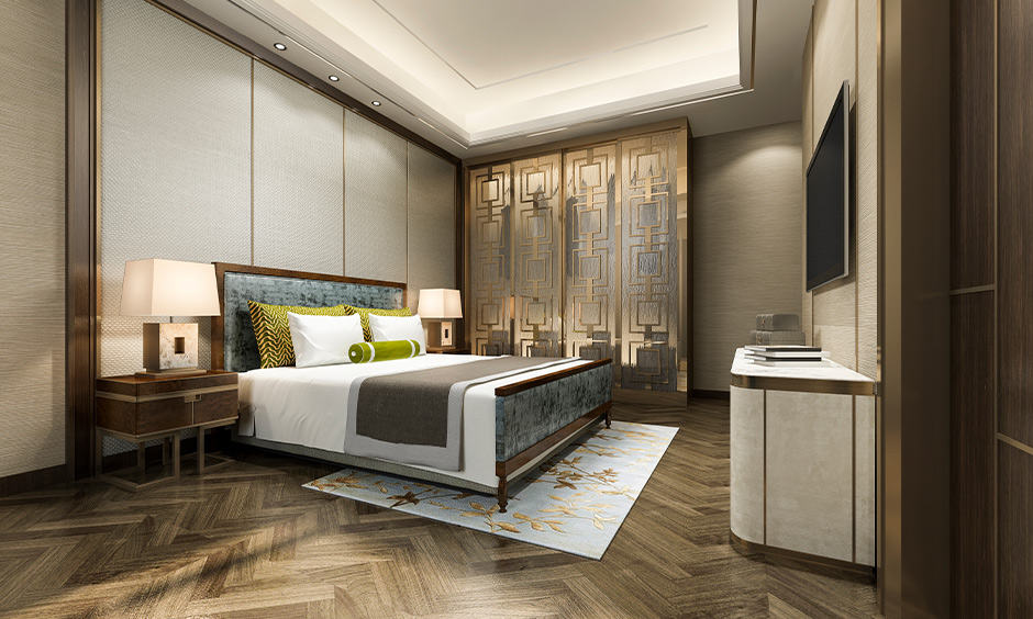 Master bedroom wardrobe design with metallic design