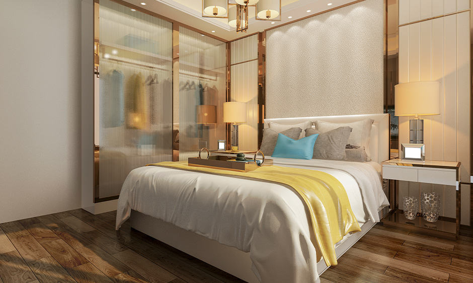 Master bedroom wardrobe design with translucent doors
