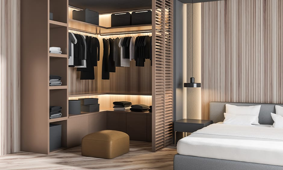 Master bedroom wardrobe design with a changing space