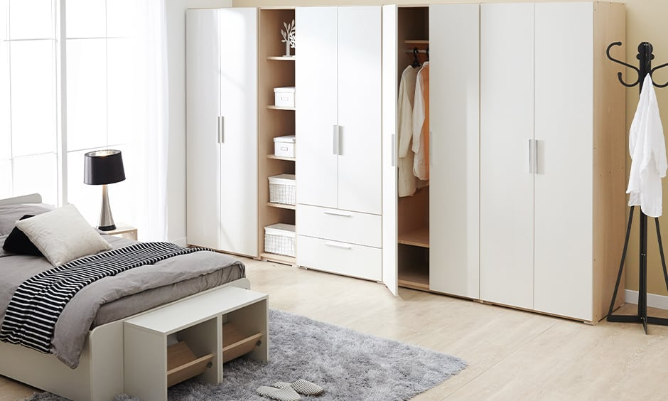 Multifunctional wardrobe design for master bedroom