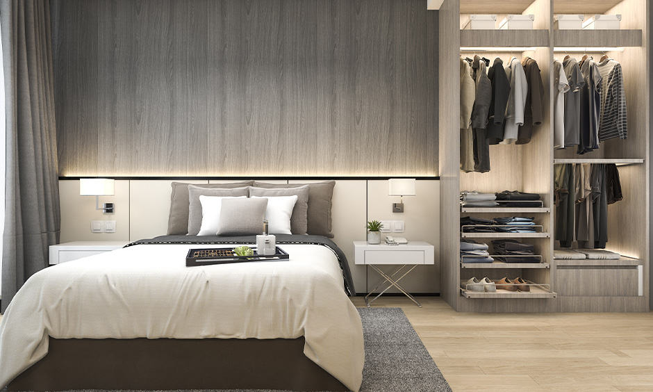 Open wardrobe design for master bedroom