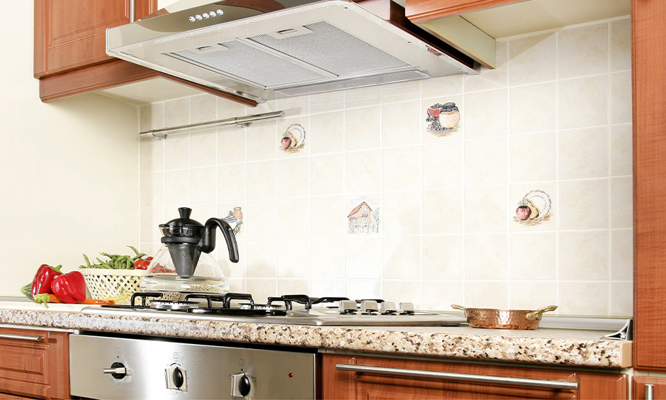 Eurodomo chimney kitchen type with an auto-cleaning function and designed with LED light.