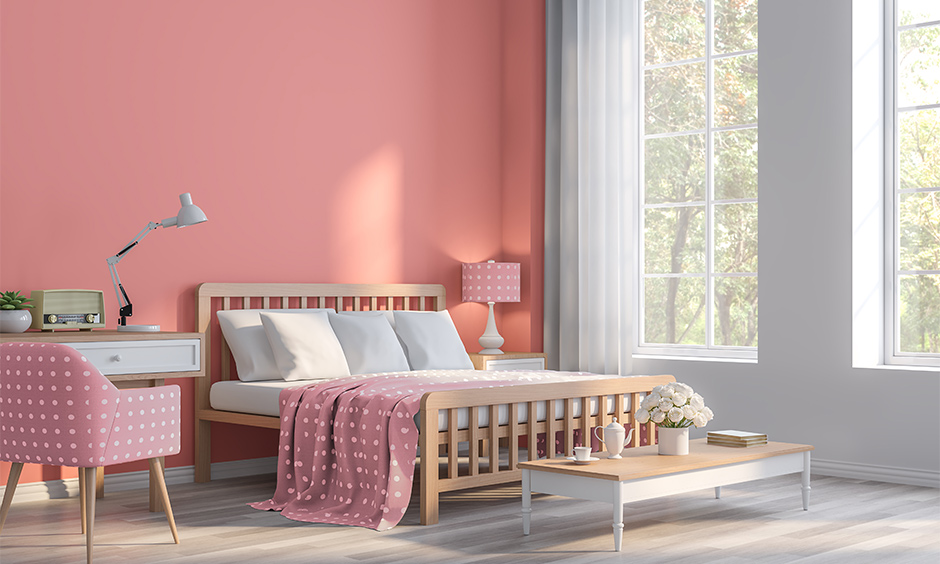 Pink and white two light colour combination for bedroom walls