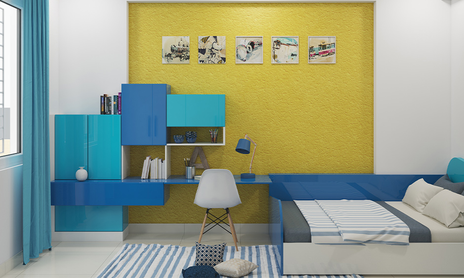 Yellow and white  wall light colour combination for small bedroom