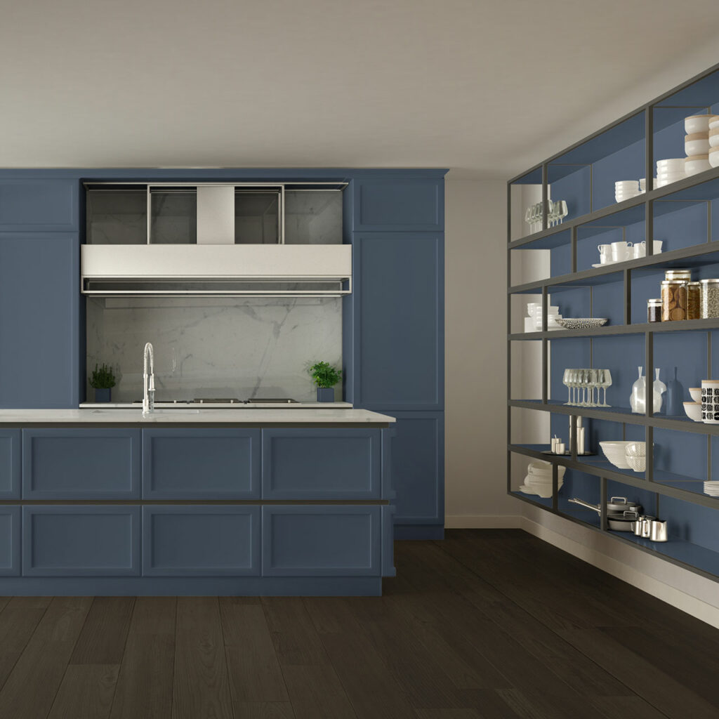 Modular Kitchen Colour Combination of Blue and Grey kitchen cabinets with kitchen wall colour combination