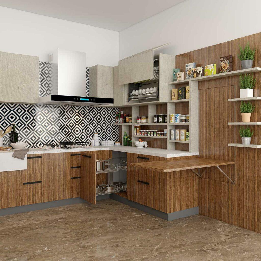 Modular kitchen colour combination Idea With Brown Color for kitchen cabinet colour schemes