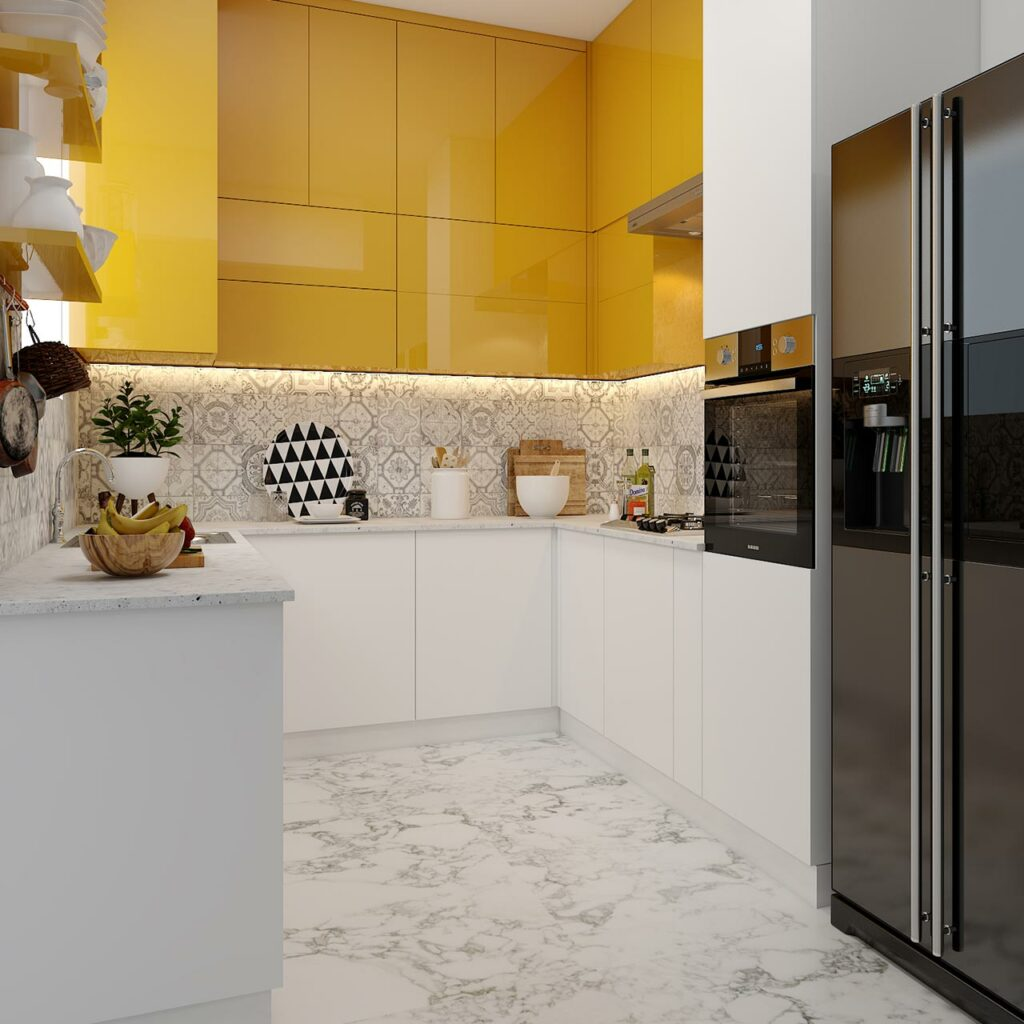 Kitchen cabinets color combination with wall color with yellow for kitchen furniture color combination