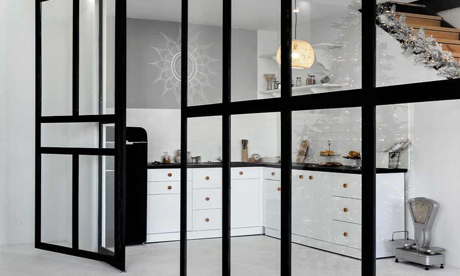 Hinged kitchen door glass design makes light kitchen interiors