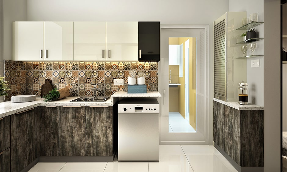 Pvc kitchen door with glass makes sleek look in this modular kitchen