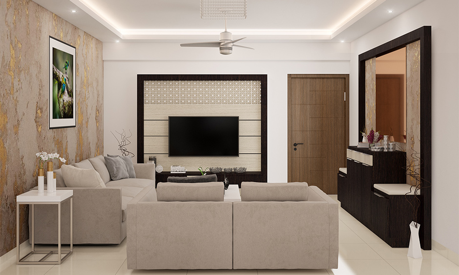 Small living room arrangement, living room with grey sofa set fitting brilliantly in the available space.