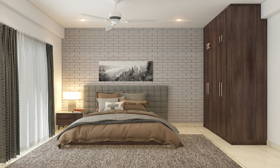 Bedroom with a marble stone wall cladding in soft grey design works like a charm.