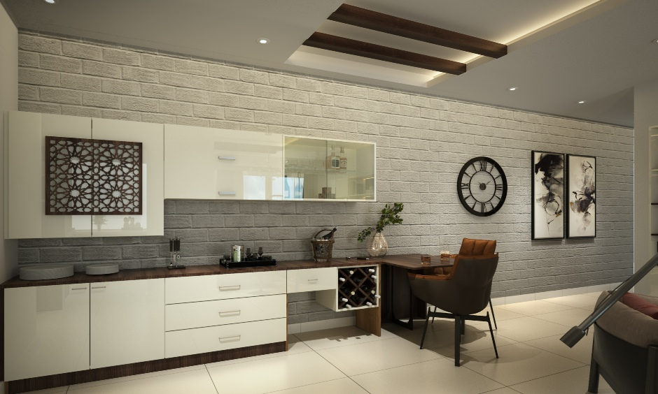 Grey wall stone cladding design in an open dining area with a beautifully soft texture.