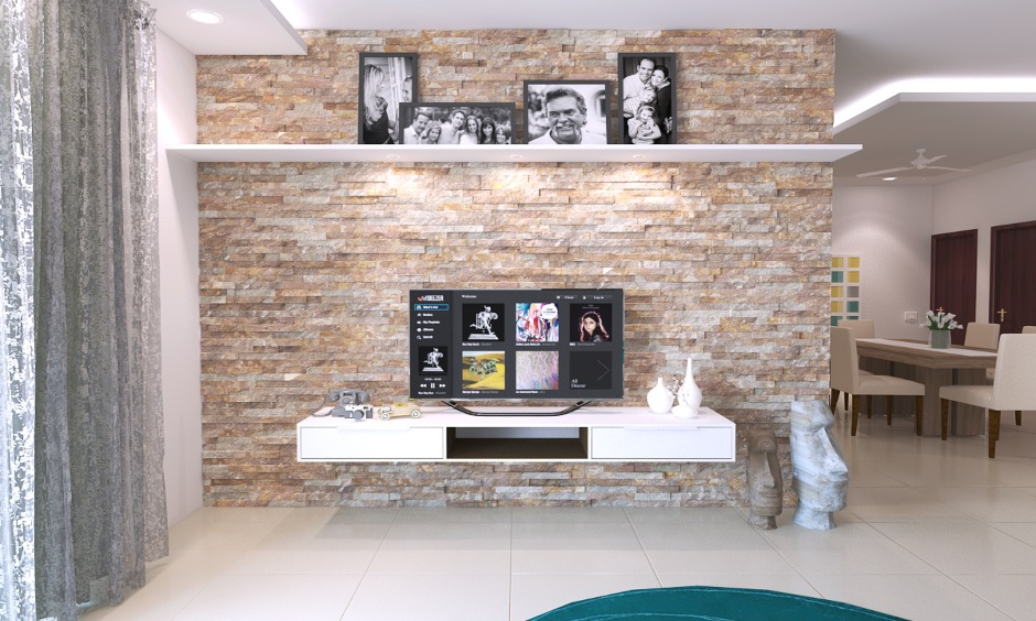 Interior stone wall cladding design for tv unit background in the living room looks great.