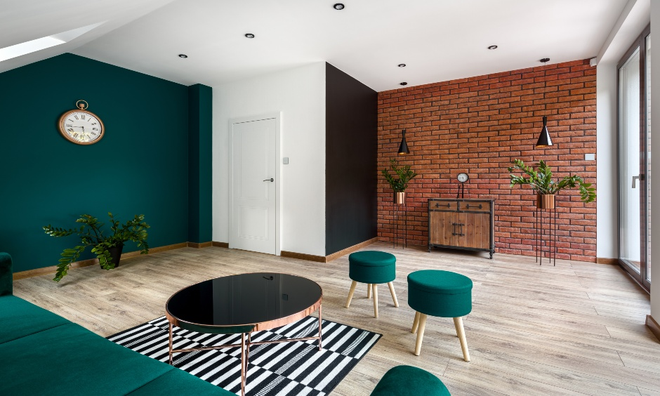 Minimal living with a red-brick stone cladding looks rugged is stone cladding tiles for interior wall.