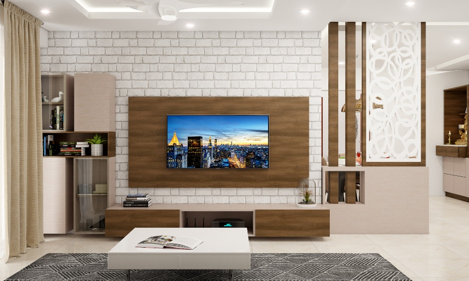 Tv unit background with a cladding wall stone in white brings a statement wall in the living room.