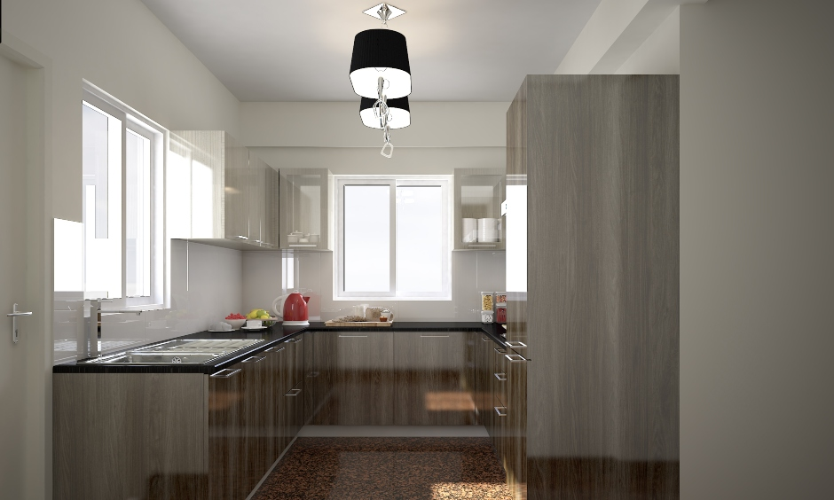 Modern two black colour hanging kitchen lights in the parallel kitchen