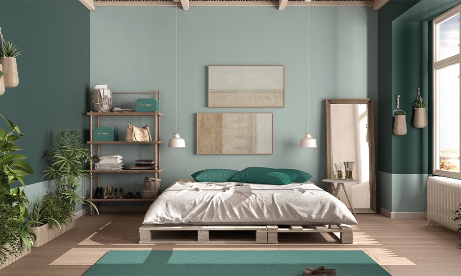Interior wall painting idea for the bedroom, dual-tone green coloured walls in bedroom look refreshing.
