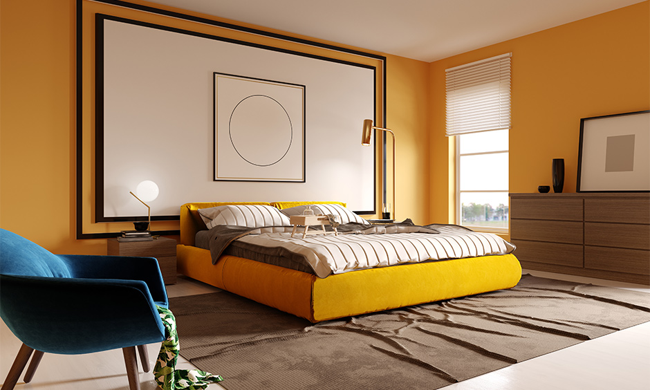 Wall paint color for bedroom idea, master bedroom walls in a shade of yellow coloured look bright