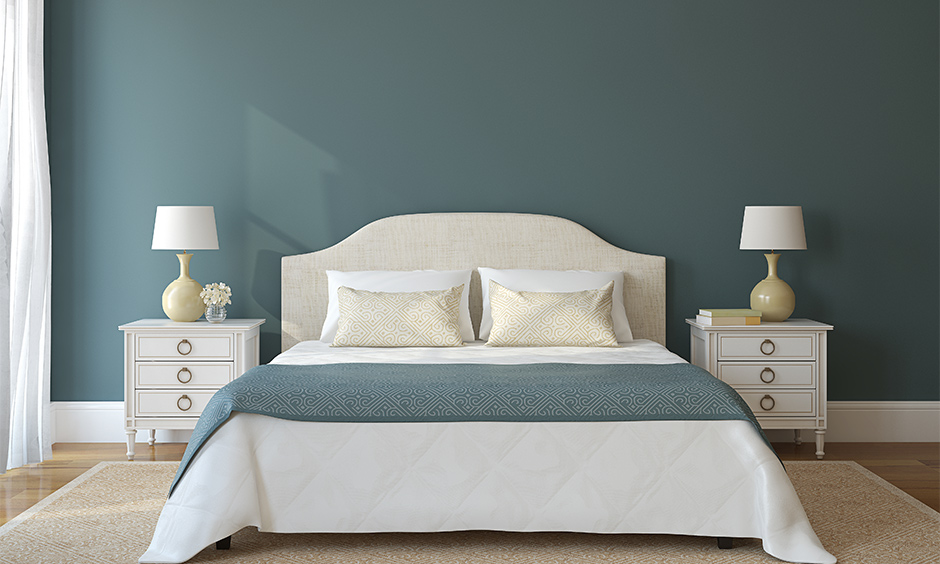 Paint color idea for bedroom walls, Bedroom walls painted in shades of teal colour looks fantastic