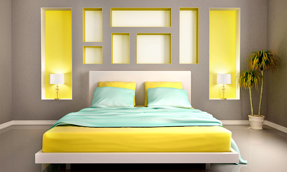Grey and yellow combination wall painting brightens the area, Wall painting idea for bedroom.