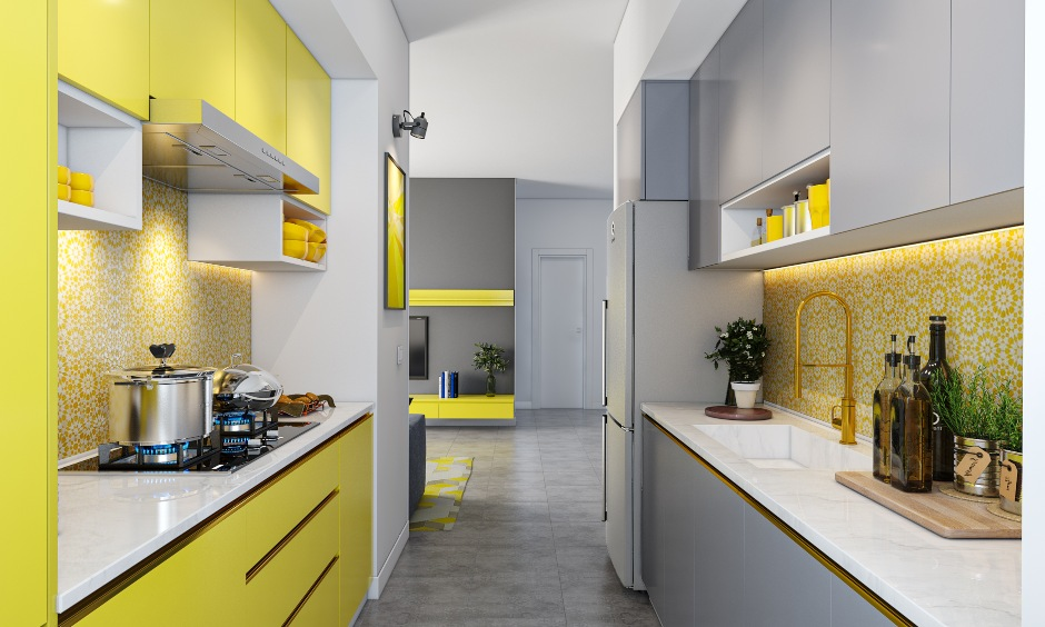 Latest kitchen design in parallel shaped layout with yellow and grey keeps pantone's colour of 2021