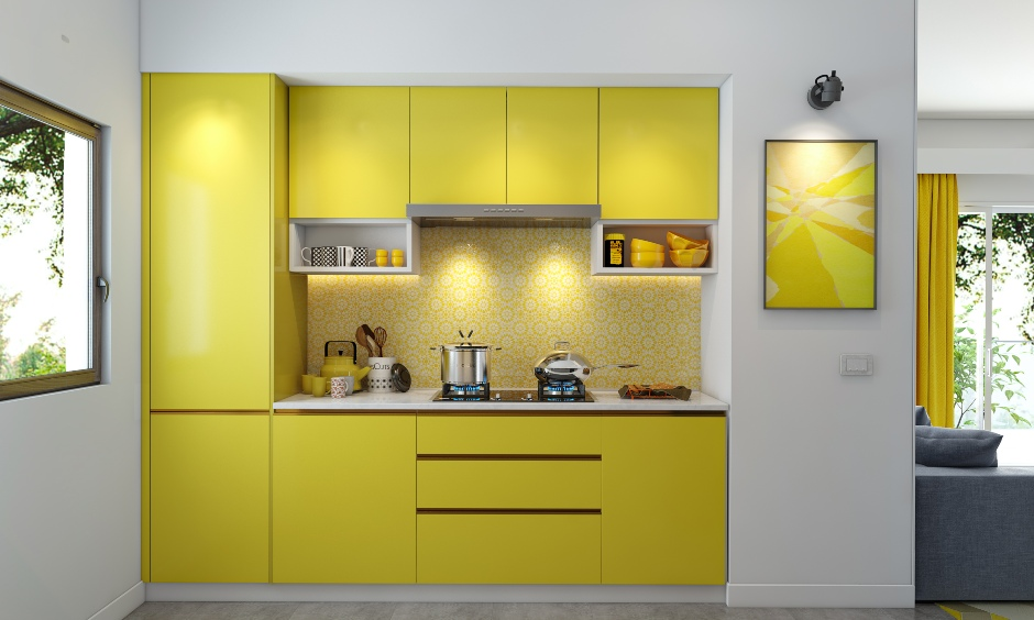 Modular kitchen design with pantone colour of the year 2021 in yellow and grey