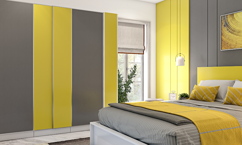 Bedroom design in panton colour of year 2021 with yellow and grey with modular furniture