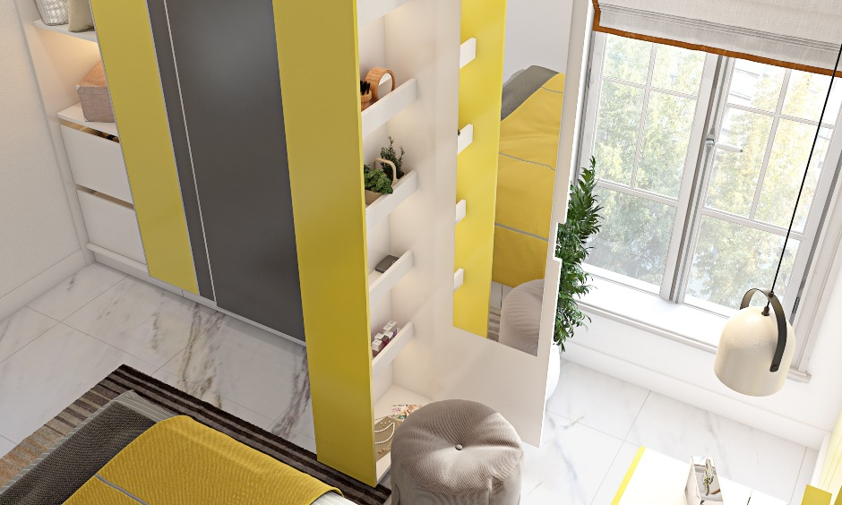 Bedroom design in yellow and grey wardrobe with pull out dresser to saves space