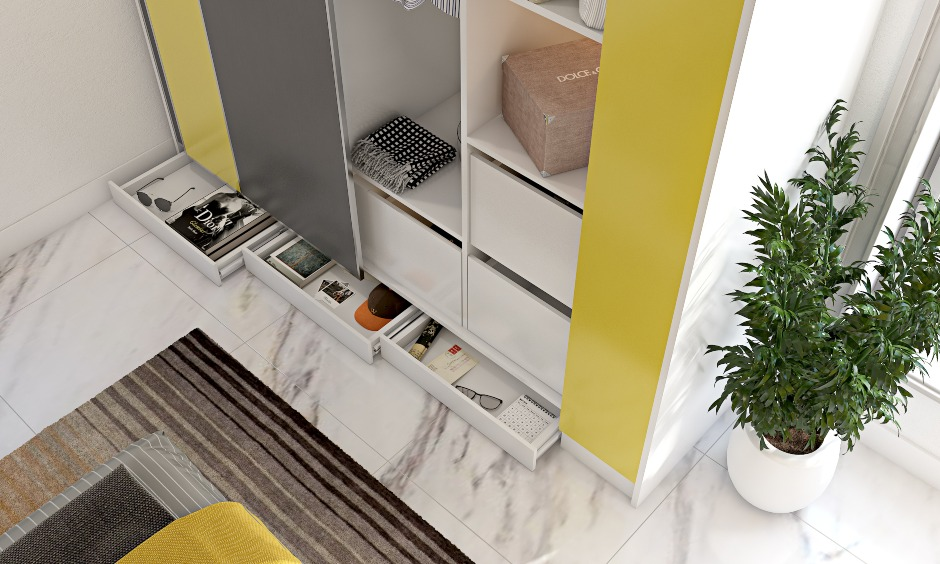 Bedroom interiors with sliding door wardrobe in yellow and skirting drawers in grey