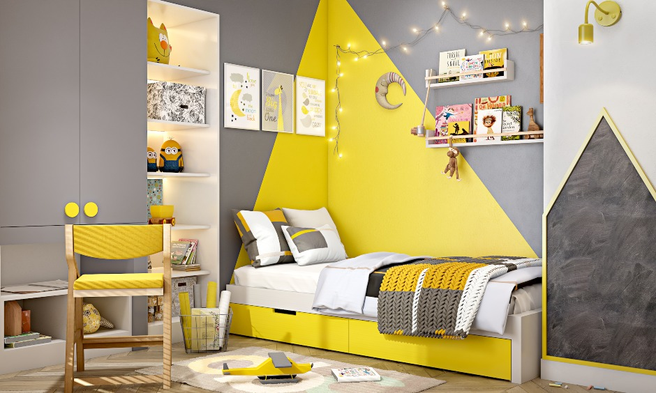 Kids bedroom design with a wardrobe with an attached study unit in grey