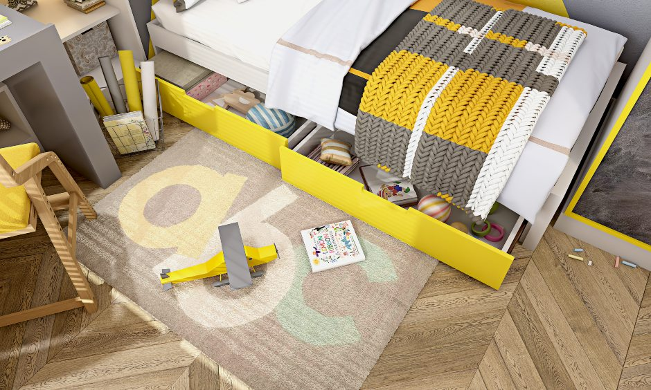 Kids bedroom bed with yellow drawers to storage toys and other items