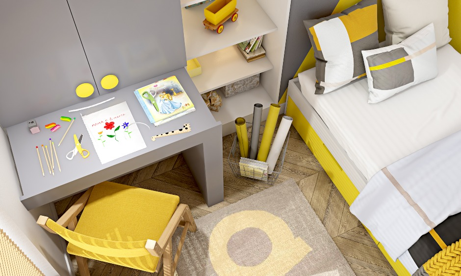 Latest kids bedroom design in patonce color of the year 2021 with an attached study unit in grey