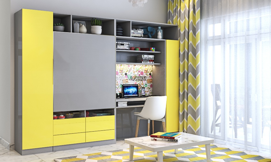 Living room interior design with a study unit attached to tv unit in yellow and grey